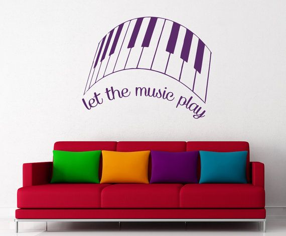 Wall Decals Quotes - Let The Music Play Quote Decal Piano Key Vinyl Sticker Bedroom Home Decor Wall Mural Family Art Dorm aa102