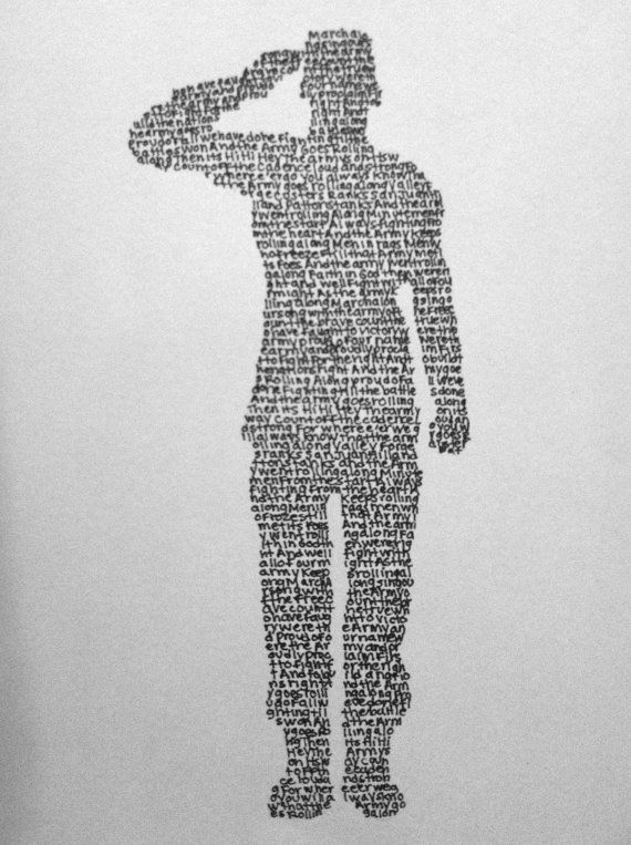 Army silhouette made from lyrics to U.S. Army song  composed by Harold Arberg 1956. Official in 1957. Played at the end of most Army ceremonies.
