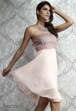 SARIA Dámské šaty středně dlouhé s flitrovým živůtkem a šifonovou sukní