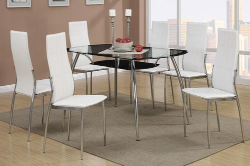 HOT BUY! 5 PC Poundex Modern White Dining Room Table Set F2225