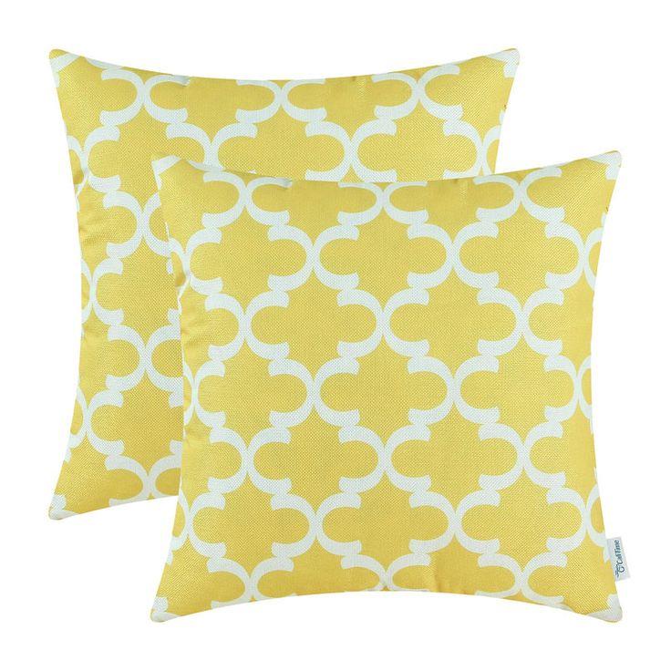 2Pcs CaliTime Yellow Cushion Cover Pillows Shell Home Sofa Decor Bedding Set Geo Print 45cmx45cm