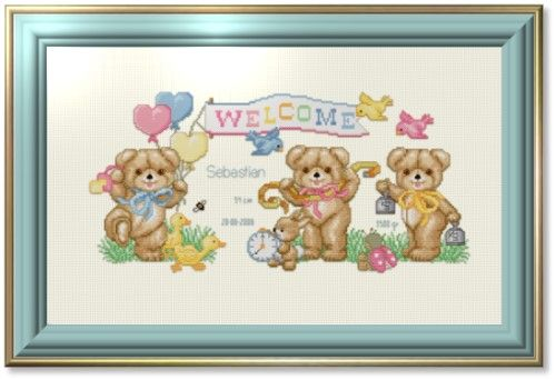Baby counted cross stitch patterns free printable   Birth Announcement Cross Stitch Patterns – Catalog of Patterns