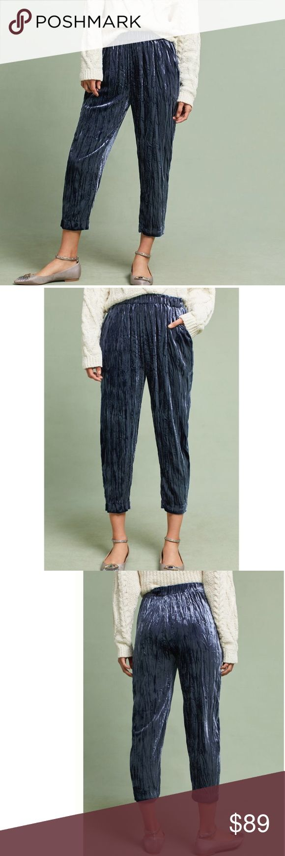 Anthropologie textured velvet jogger pants Brand new with tag. Elastic  waist. Waist 29