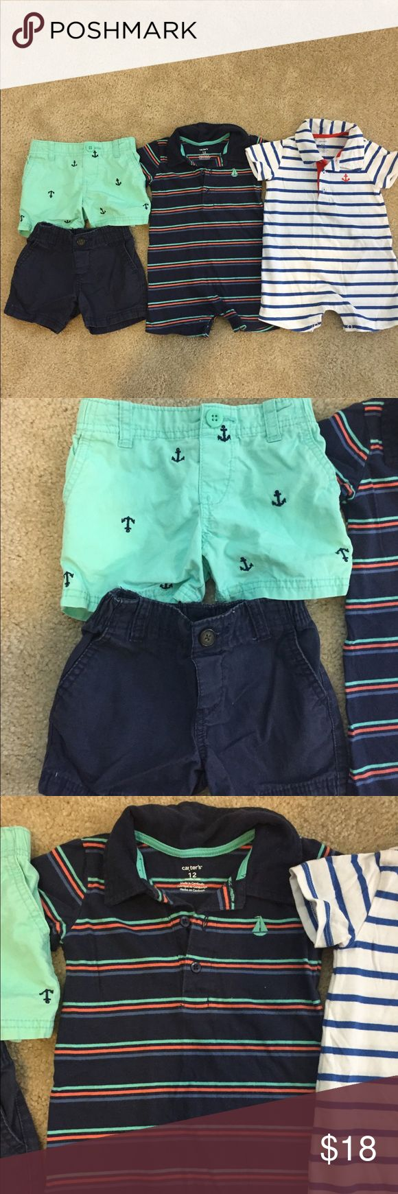 Nautical package ⚓️ 12 months boys nautical package includes 1 navy stripe romper with sailboat embroidery (worn once), 1 white with blue stripe romper with anchor embroidery (washed but never worn), 1 pair of navy shorts, and 1 pair of light/mint green shorts with anchor embroidery all over. Can be broken up and any item sold separately just let me know Carter's One Pieces