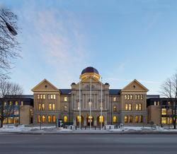 Elgin County Courthouse - Consolidated courthouse reduces delays and improves overall access to justice. Delivered under a P3 contract, the design for the restored and expanded Elgin County Courthouse marks the beginning of a new chapter in a 160-year tradition of justice administration in Elgin County.