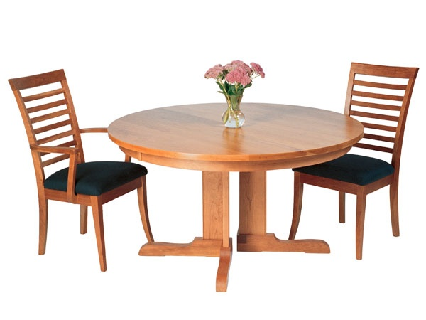 Round Shaker Pedestal Dining Table With Extension In