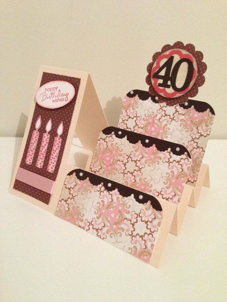 Card Making Ideas 40th Birthday Part - 28: Side Step Card - 40th Birthday Card