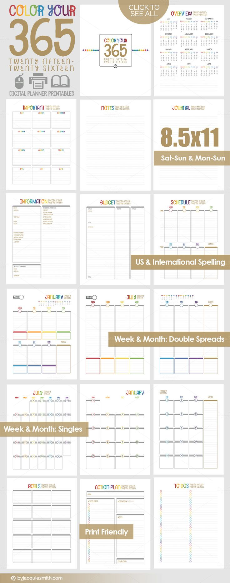 Printable Planner: 2015-2016 CY365 by Jacqui E Smith on Creative Market