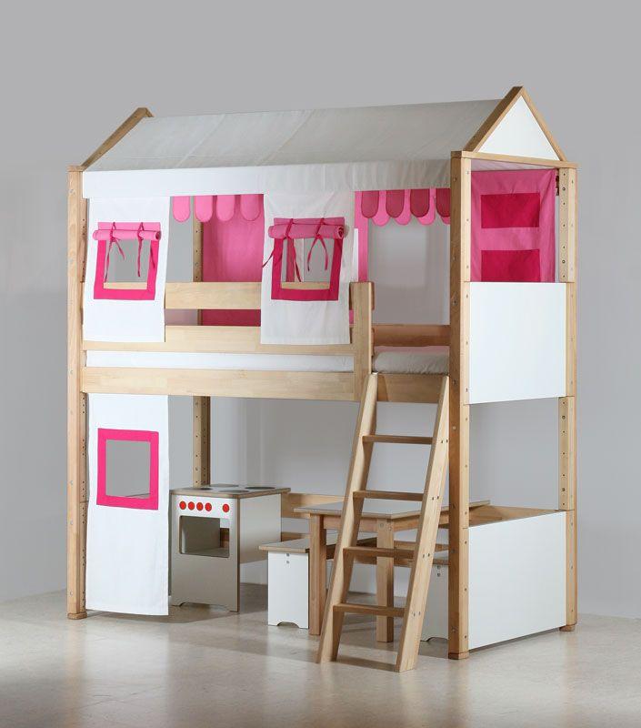 Le lit mezzanine enfant pour les petites filles par de breuyn chambre de fi - Lampe pour lit mezzanine ...