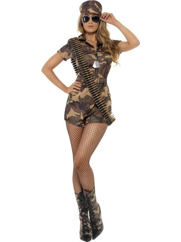 Womens Army Girl Sexy Military Fancy Dress Costume #Smiffys