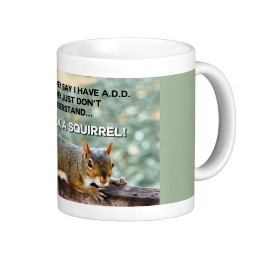 ADD Squirrel Photo Mug. They say I have ADD, they just don't understand... Oh look, a squirrel! - Funny Attention Deficit (Hyperactivity) Disorder Humor quote / saying. Squirrel humor photograph design. See them all here: http://www.zazzle.com/ironydesignphotos/drinkware?rf=238222968750191371&tc=pinterest