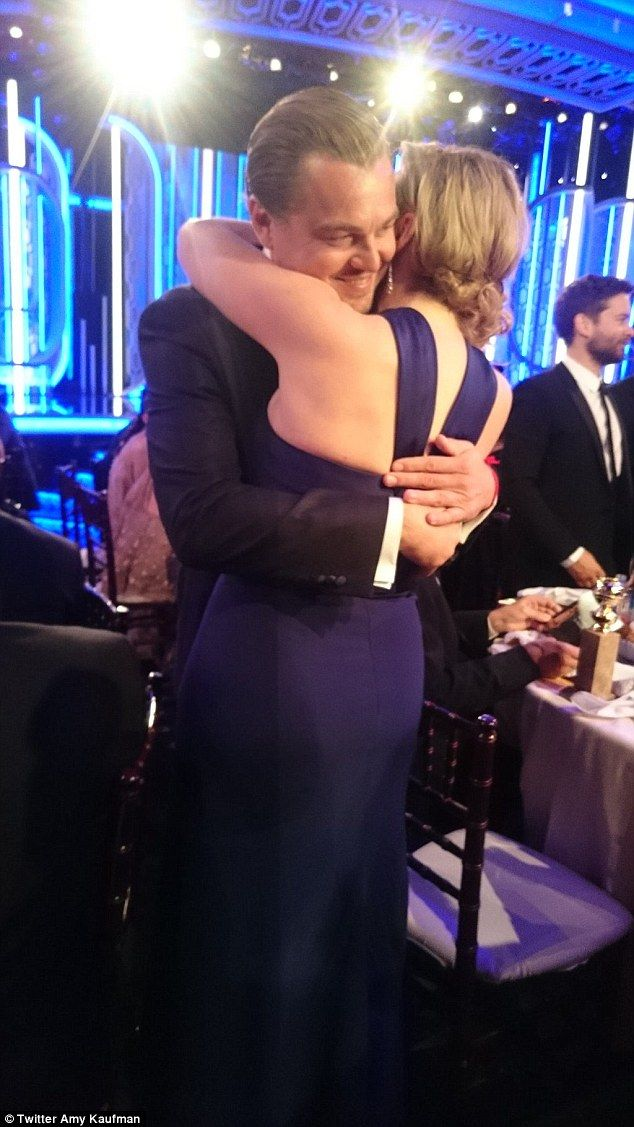 A Titanic reunion: Kate and Leo embraced at the Golden Globe Awards, where she picked up the award for Best Supporting Actress for her turn in Danny Boyle's biopic of Steve Jobs