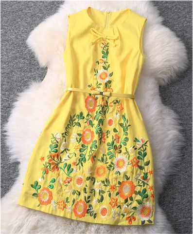 Embroidered Dress In Yellow