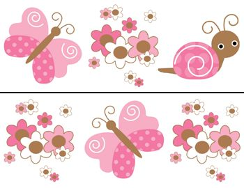 Nursery Wall Borders | BUTTERFLY BABY GIRL NURSERY FLORAL WALL BORDER STICKERS DECAL
