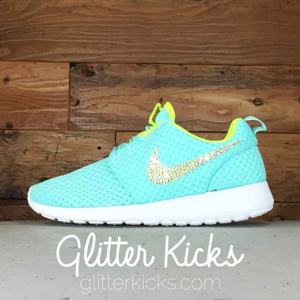 Women s Nike Roshe One BR Casual Shoes By Glitter Kicks - Customized With Swarovski  Crystal Rhinestones - TIFFANY BLUE YELLOW WHITE  6fdaa358ecb3