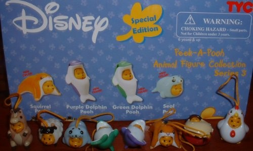 Winnie the Pooh Peek a Pooh Series 3 Special Edition Animal Figure Collection with Purple and Green Dolphin Figures From Gacha