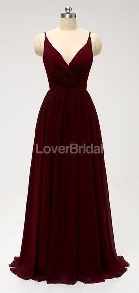 Dark Red Spaghetti Straps Chiffon Open Back Cheap Bridesmaid Dresses Online, WG584