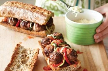 Meatball Sub with Roasted Veggies & Tomato Sauce — Punchfork