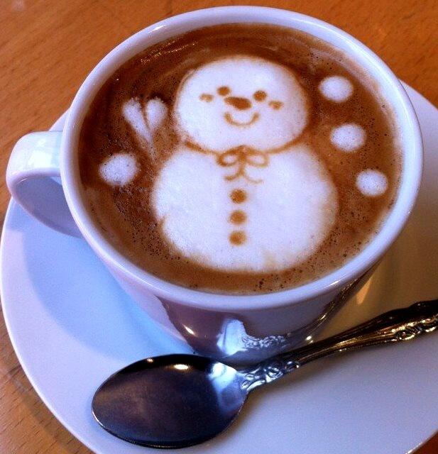 .·:*¨¨*:·.Coffee ♥ Art.·:*¨¨*:·. 3-D latte Snowman latte ⛄