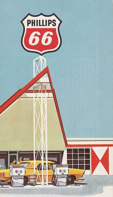 Phillips 66 Gas Station Illustration 1960s