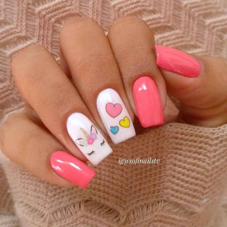 Adorable Nail Art: Adorable White And Pink Unicorn Nails
