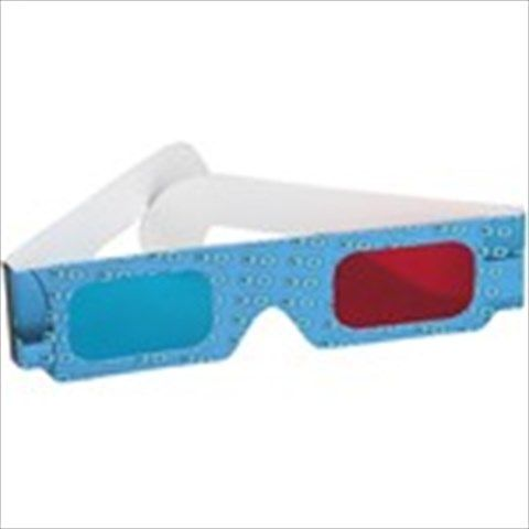 Red+ Blue/ Cyan 3D 3 Dimensional Cardboard Frame Anaglyph Glasses with Blue Characters Pattern for 3D Movie DVD
