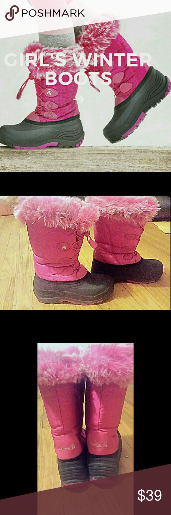❄🌬Girls Pink Kamik Winter Boots⛄⛇ Waterproof snow boots are all you need to keep your feet happy. Featuring seam-sealed waterproof construction and 3M? Thinsulate? insulation for warmth. EUC Weight: 944 g per pair Temperatue Rated: -40?C Waterproof nylon upper with faux fur snow collar Waterproof gusset tongue with ghillie lacing loop system Fixed 200B 3M? Thinsulate? and foam insulation Soft Faux fur lining Removable Kamik comfort molded EVA insole PEAK synthetic rubber outsole. WILLING TO…