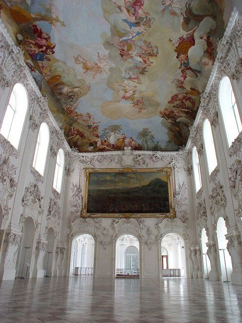 I love the starkness of the white walls contrasted with the ceiling and painting.