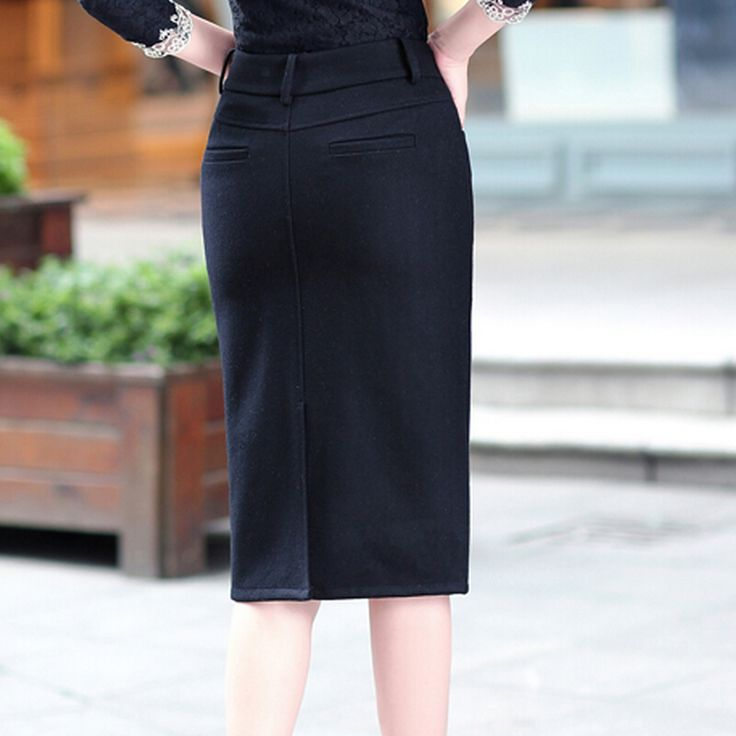 2015 осень и зима шерстяной юбке с высокой талией юбка карандаш Большой размер длинные юбки женщин купить на AliExpress