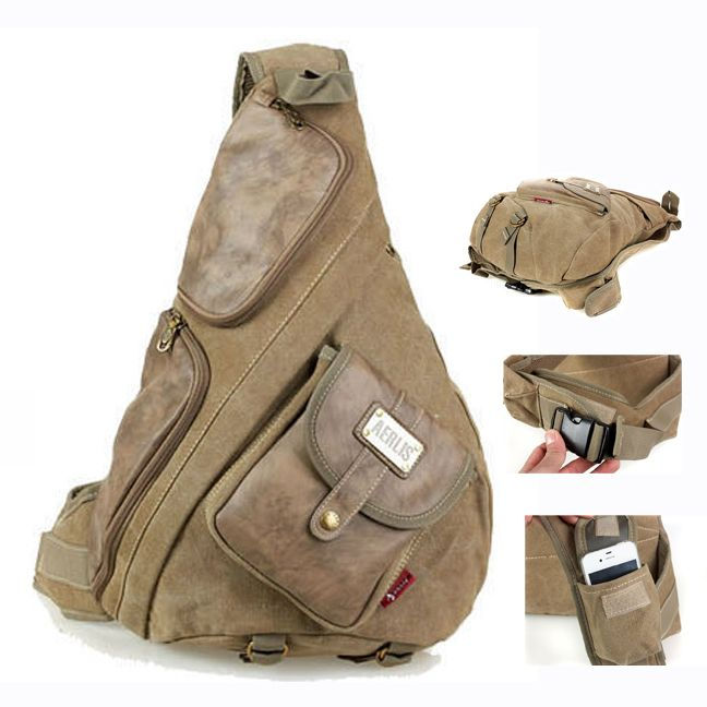 Aerlis large canvas with leather chest bags for men Vintage casual male sling backpack Black Army green Khaki 6218 Free shipping(China (Mainland))