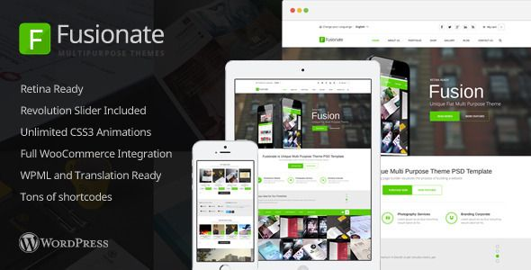 Fusionate - Retina Multi-Purpose WordPress Theme   http://themeforest.net/item/fusionate-retina-multipurpose-wordpress-theme/6938295?ref=damiamio       Fusionate is a clean, responsive, and retina ready WordPress theme. It's built on the ThemeLuxe framework which allows endless amounts of customization.  Pick and choose your own colors without pre-defined sets. Every color from the navigation to the footer can easily be changed in our user-friendly theme options panel. And since layouts are…