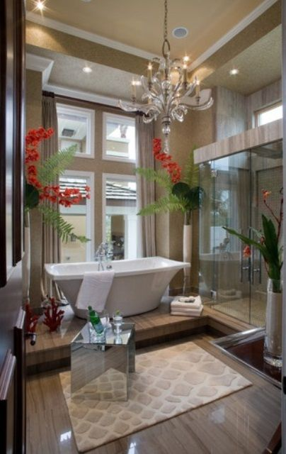 42 Inspiring Tropical Bathroom Décor Ideas : 42 Amazing Tropical Bathroom Décor Ideas With White Brown Bathroom Wall Window Curtain Chandelier Bathtub Towel Shower Mirror Glass Door Carpet Flower Decor And Hardwood Floor