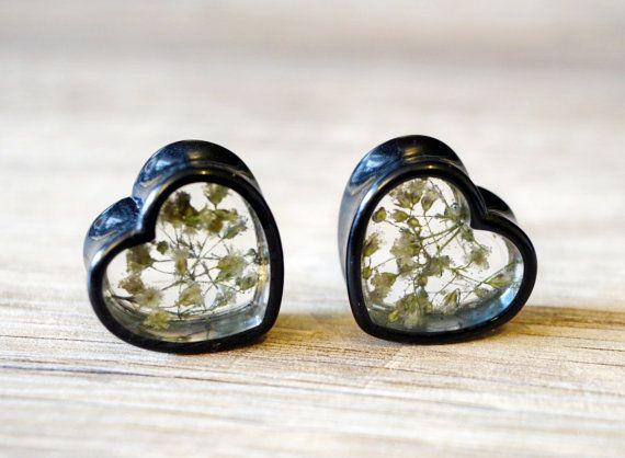 11/16 plugs 18mm ear gauges heart plugs by JEWELRYandPLEASURE