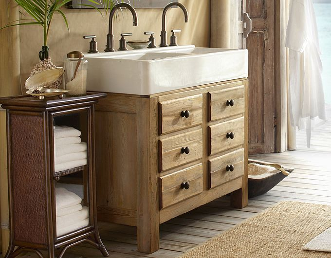 Potterybarn double sink for small bathroom for the home for Sink with vanity for small bathroom