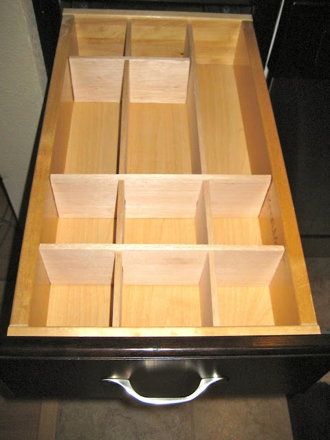 DIY Wood Organizer!  Glad I didn't spend that hundred dollars at The Container Store on all those little plastic trays...!