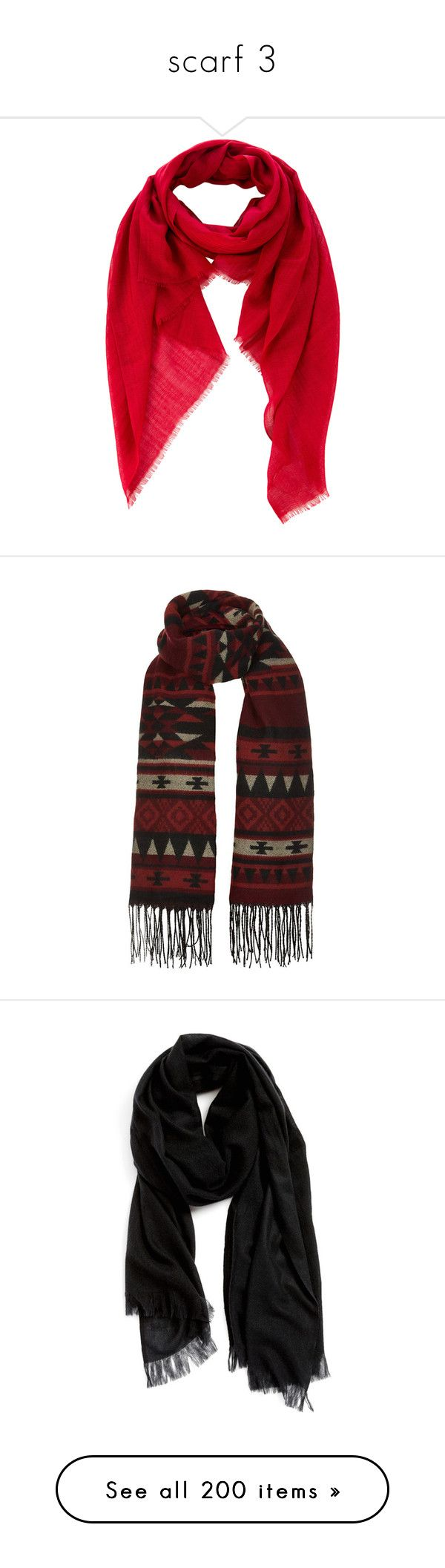 """""""scarf 3"""" by aleftina-alla ❤ liked on Polyvore featuring accessories, scarves, red, cashmere scarves, agnona, fringe scarves, red shawl, cashmere shawl, aztec scarves and fringed shawls"""