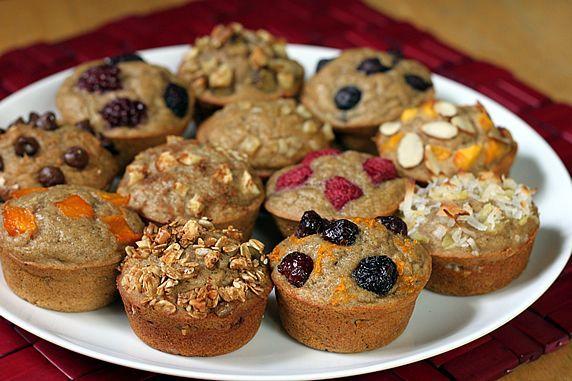 1. Blueberry, 2. Raspberry, 3. Blackberry, 4. Cranberry-Orange, 5. Apple Cinnamon, 6. Mango, 7. Granola, 8. Ginger, 9. Banana Nut, 10. PB Chocolate Chip, 11. Pineapple-Coconut, 12. Peachy Almond