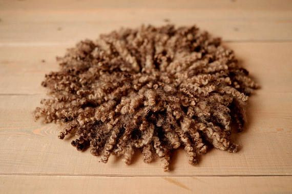Felted brown curly layer Newborn Photo prop Rug Fur