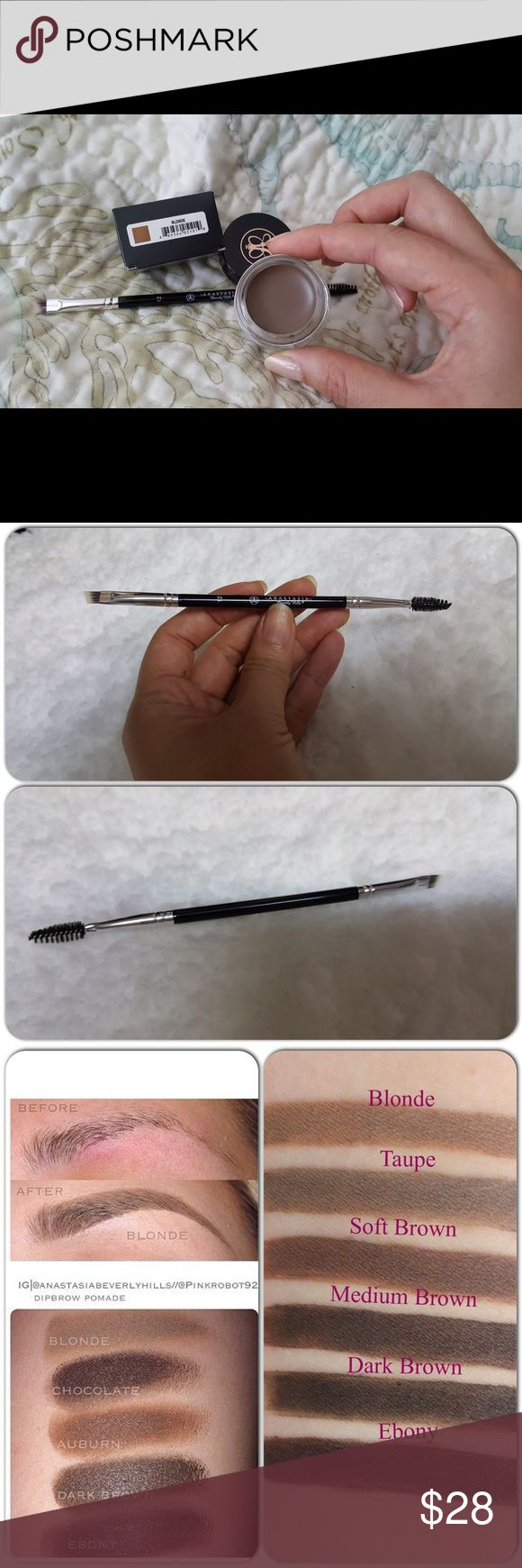 Bundle Anastasia of BH brows makeup Anastasia of BH in Blonde. Bundle with #12 brush, both are brand new. This pomade can be applied light or dark, and smudgeproof and to me they are like waterproof as well. You'll love them. Anastasia Beverly Hills Makeup Eyebrow Filler
