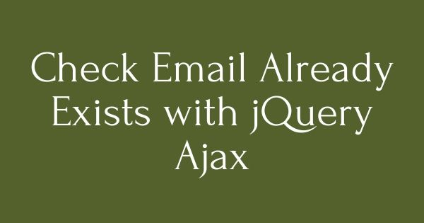 Check #Email Already Exists with #jQuery #Ajax. Create a Database First create a database named 'email_exists' you can change if you want, and create a table named 'users' and fields. http://findnerd.com/list/view/Check-Email-Already-Exists-with-jQuery-Ajax/702/