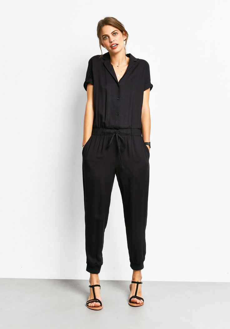 Our must-have jumpsuit is updated with short sleeves. This one-piece style looks super chic and effortless.