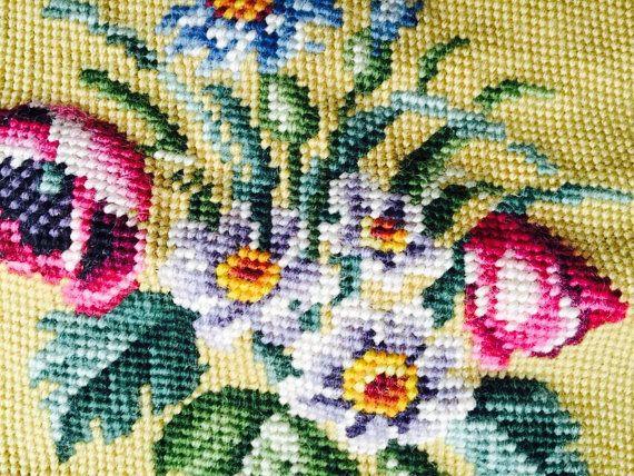 Vintage Floral Preworked Needlepoint / Vintage Victorian