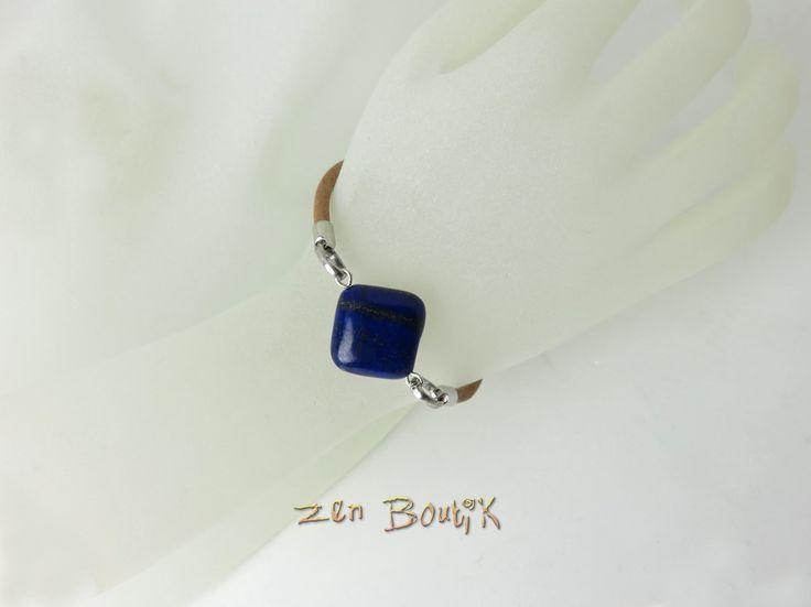 Bracelet Lapis Lazuli, Cuir, Pierre, Minimaliste, Bijoux Zen Boutik, Bracelet Chic : Bracelet par zenboutik