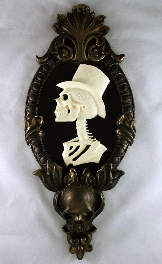 Gothic Victorian Gentleman Skeleton Cameo bone white in gold tone frame Wall Art