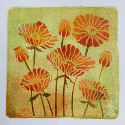 Barbara Gray's Blog. One Day at a Time. New Poppies, served on a Gelli Plate Lovely original print edge, too. Lines up well, despite several layers, because of the card underneath the plate and the T for Top.