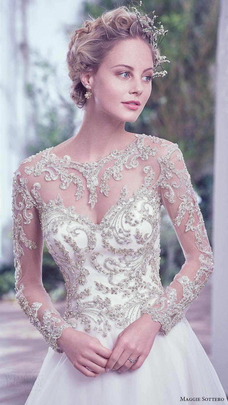 maggie sottero bridal fall 2016 illusion long sleeves sweetheart jewel neck ball gown wedding dress (lorenza) zfv embellished bodice romantic