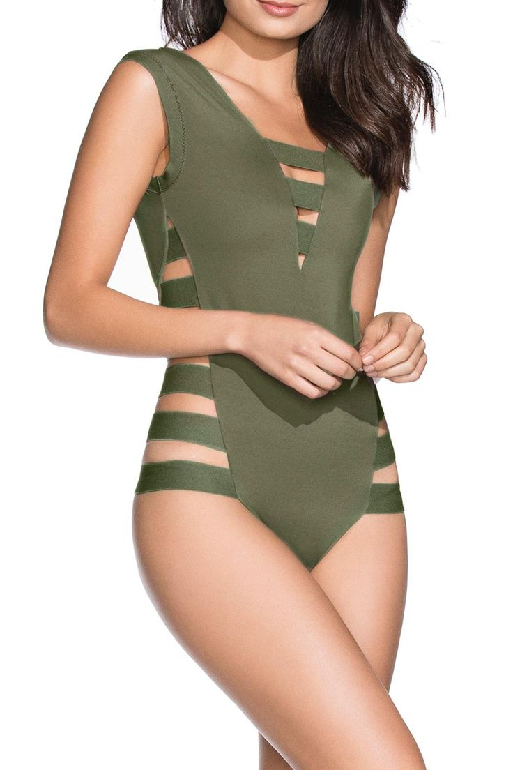 Solids Collection! Olive green solid one piece swimsuit. Solid one piece Straps at sides Latin cut coverage at the back   Verdegal One Piece by Agua Bendita. Clothing - Swimwear - One-Piece Florida