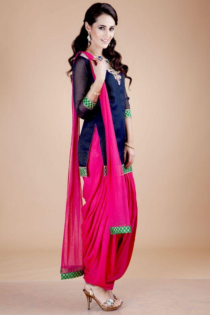 Navy blue and pink Punjabi suit
