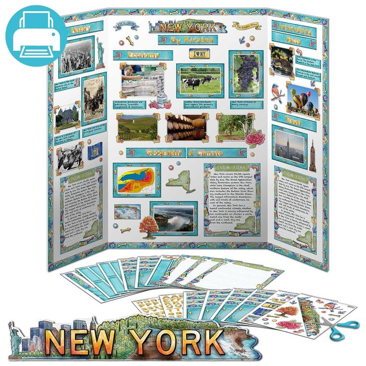 New York JUMBO Poster Pack   Printable $3.95.  Printable pack of decorations for New York state reports. Make your 5th grade state reports look great! Spend time researching your project instead of standing in line at the craft store. To the library!