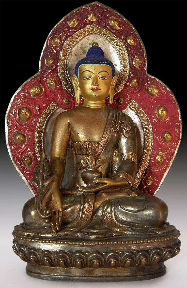 "Antique Tibetan Gilded Bronze Statue Medicine Buddha ""Bhaisajyaguru"""